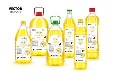 Extra virgin sunflower oil plastic bottles set. Extra virgin sunflower oil realistic plastic bottles with labels. Layout of food identity branding, modern royalty free illustration
