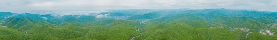 Extra Wide Panoramic mountain view of Caucasus mountains royalty free stock photo