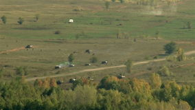 Extra wild shot military attack: soldiers, tanks, avia. Outdoor stock footage