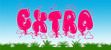 EXTRA written with pink balloons on blue sky and green grass background. Illustration stock illustration