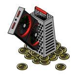 Extracción abstracta del bitcoin usando una tarjeta de vídeo y un rallador stock de ilustración