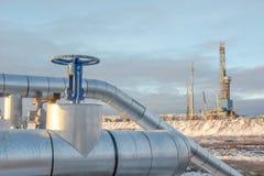 Extracción del aceite en el campo del norte Foto de archivo