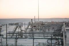 Extracción del aceite en el campo del norte Imagen de archivo