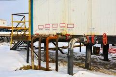 Extracción del aceite en el campo del norte Fotografía de archivo