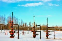Extracción del aceite en el campo del norte Imagen de archivo libre de regalías