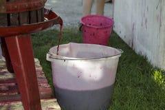 Extracción del jugo de uva con la prensa de vino manual vieja Imagen de archivo libre de regalías
