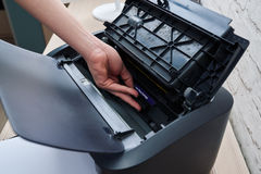 Extract cartridge of  laser printer to replace Stock Images