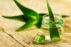 Aloe vera gel. Extract of organic aloe vera gel on wooden background Stock Image
