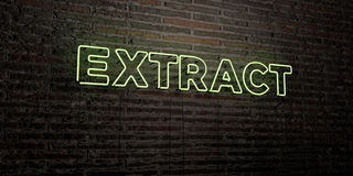 EXTRACT -Realistic Neon Sign on Brick Wall background - 3D rendered royalty free stock image Stock Photo