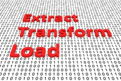 Extract transform load. In the form of binary code, 3D illustration Stock Photos