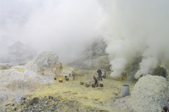 Extracting sulphur inside Kawah Ijen crater stock images