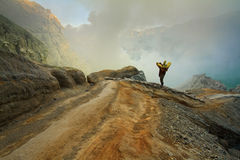 Extracting sulphur inside Kawah Ijen crater Royalty Free Stock Images