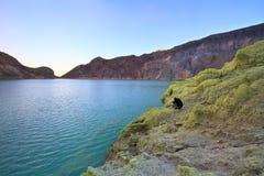 Extracting sulphur inside Kawah Ijen crater Stock Photography