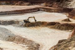 Open quarry for the extraction of kaolin Stock Images