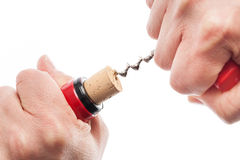 Extraction Of Cork From Bottle Royalty Free Stock Images