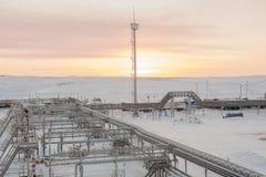 Extraction du pétrole sur le champ du nord Photos libres de droits