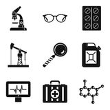 Extraction of energy icons set, simple style. Extraction of energy icons set. Simple set of 9 extraction of energy vector icons for web isolated on white royalty free illustration
