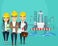 Extraction of energy resources. A gas production platform is stationary. Building. A young team of professionals. Happy people Royalty Free Stock Photos