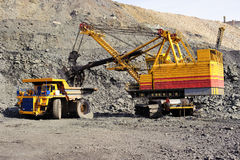 Extraction of iron ore in career Stock Image
