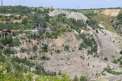 Extraction of mineral resources in a granite quarry Royalty Free Stock Photo