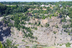 Extraction of mineral resources in granite quarry Stock Photo
