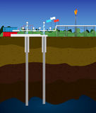Extraction of natural gas. Image of the process gas extraction vector illustration