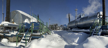 Extraction of oil. Equipment for collection and initial purification of crude oil Royalty Free Stock Images