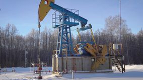 Extraction of oil and gas from the bowels of the earth. Oil rig pumps raw materials
