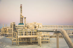 Extraction of oil on the north field. Royalty Free Stock Photography