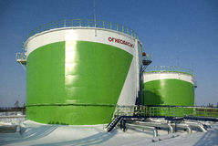 Extraction of oil. Oil storage in Siberia, in the far north Stock Photography