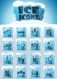 Extraction of oil icon set. Extraction of oil vector icons frozen in transparent blocks of ice stock illustration