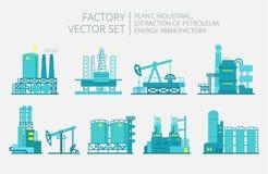 Extraction petroleum. Set of factory illustration Stock Photo