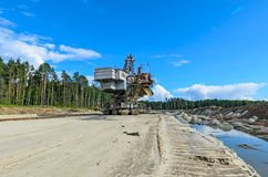Extraction of quartz sand walking excavators. Royalty Free Stock Photos