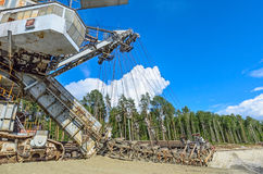 Extraction of quartz sand walking excavators. Stock Photo