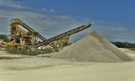 Extraction of raw materials. For making cement and other construction materials stock image