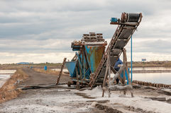 Extraction of salt from the salt lakes Royalty Free Stock Image