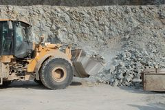 Extraction of stone in the quarry Royalty Free Stock Photo