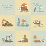 Extractive industry icons Stock Photography