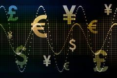 Extracto azul Backg del asunto del dinero en circulación del mundo del oro libre illustration