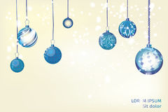 Extracto azul del fondo de Navidad del vector Orname de la nieve de la bola de la Navidad Foto de archivo