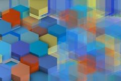 Extracto azulado con hexágonos y sombras ilustración del vector
