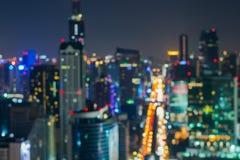 Extracto, bokeh de la falta de definición de la luz del paisaje urbano de la noche Foto de archivo libre de regalías