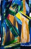 Extracto, collage de acrílico impresionista de la pintura dentro y afuera Fotografía de archivo