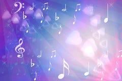 Extracto con los corazones y las notas musicales Fotos de archivo