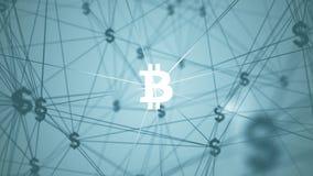 Extracto con los iconos conectados del bitcoin Foto de archivo libre de regalías