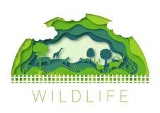 Extracto cortado de papel Vector 10 EPS del ambiente del parque zoológico de la fauna ilustración del vector