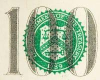 Extracto de Bill de dólar 100 Fotos de archivo libres de regalías