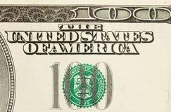 Extracto de Bill de dólar 100 Fotografía de archivo libre de regalías