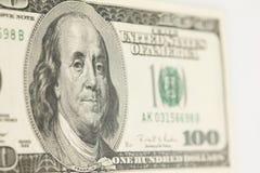 Extracto de Bill de dólar 100 Foto de archivo libre de regalías