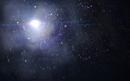 Extracto de encender la llamarada azul digital de la lente en fondo oscuro Foto de archivo libre de regalías